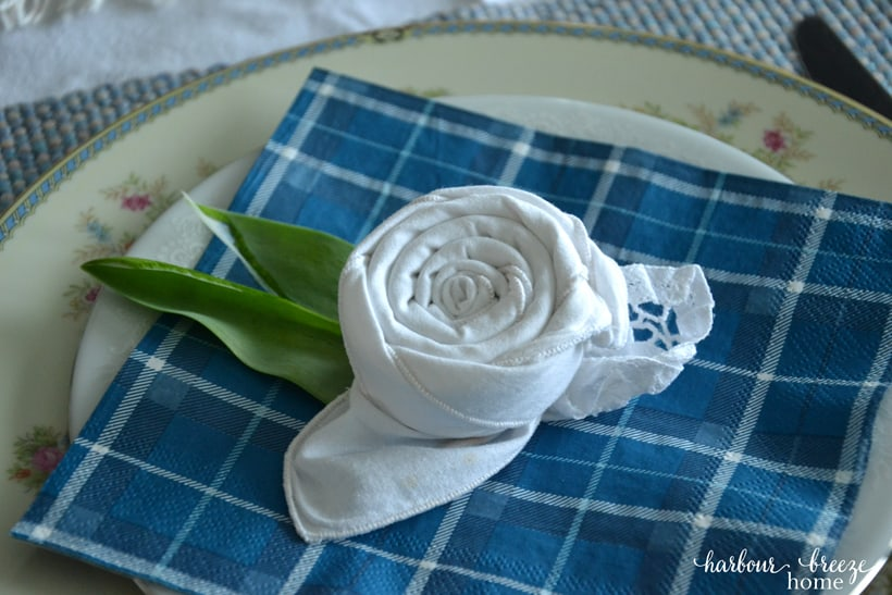 Spring Tablescape + Flower Folded Napkins