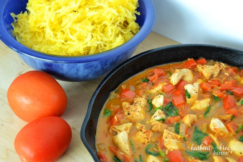 Super Skinny Chicken Alfredo with Spaghetti Squash
