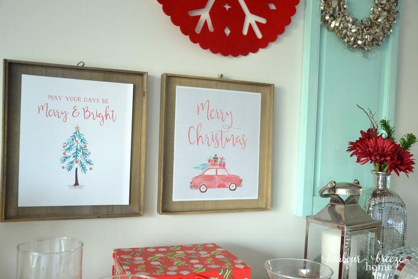 Aqua Blue & Red Christmas Decor