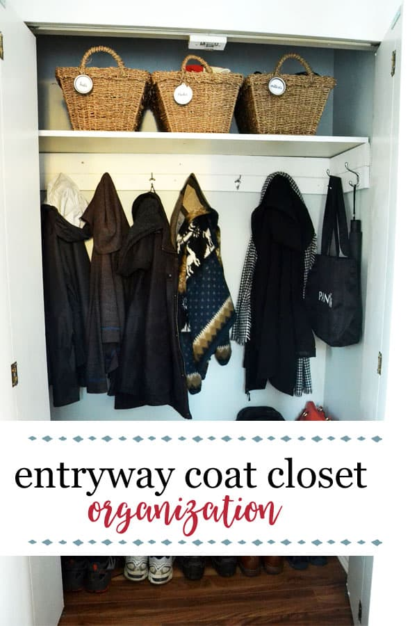 How to organize an entryway coat closet | Follow these 4 simple steps and you'll have an organized entryway coat closet that will serve you as you leave the house and come back again! #organization #organizationideas #smallspaces #townhouse