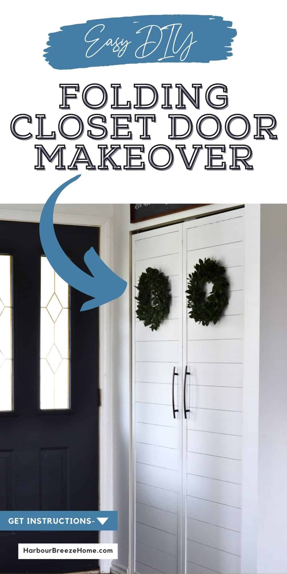 A folding hinged closet door is turned into french doors with shiplap in this easy diy tutorial.