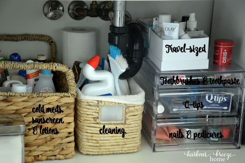 under the sink bathroom organization system