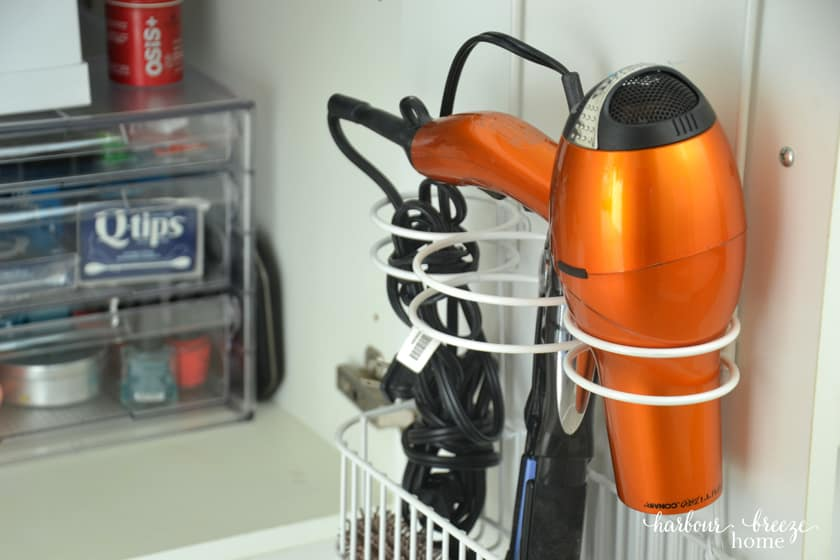 over the door organization solution for blow dryer and hair styling tools