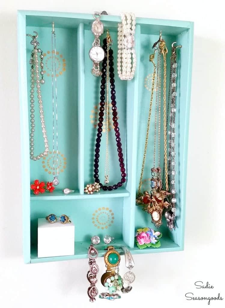 recycled silverware tray turned jewelry organizer