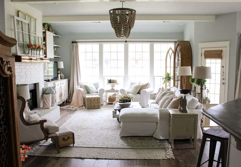 modern farmhouse style living room with white furniture and wood accents
