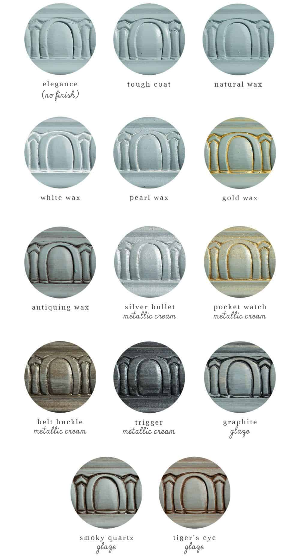 color guide of blue paint with different colors of glaze and wax finishes over it