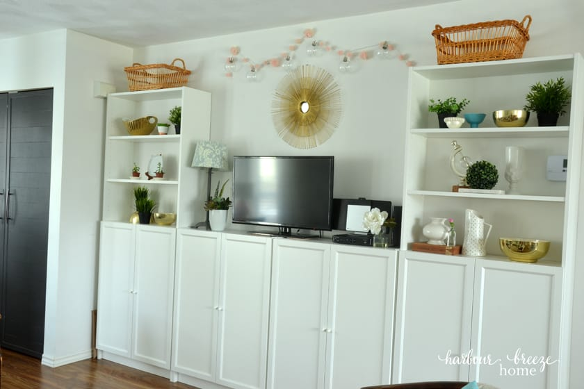 Ikea's Billy Bookcase system in a small townhouse living room
