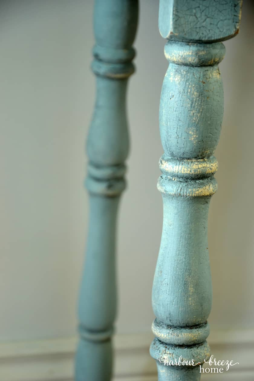 blue table legs with curvy spindles