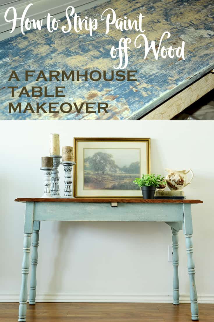 collage of a farmhouse table with a wood stained top and blue legs