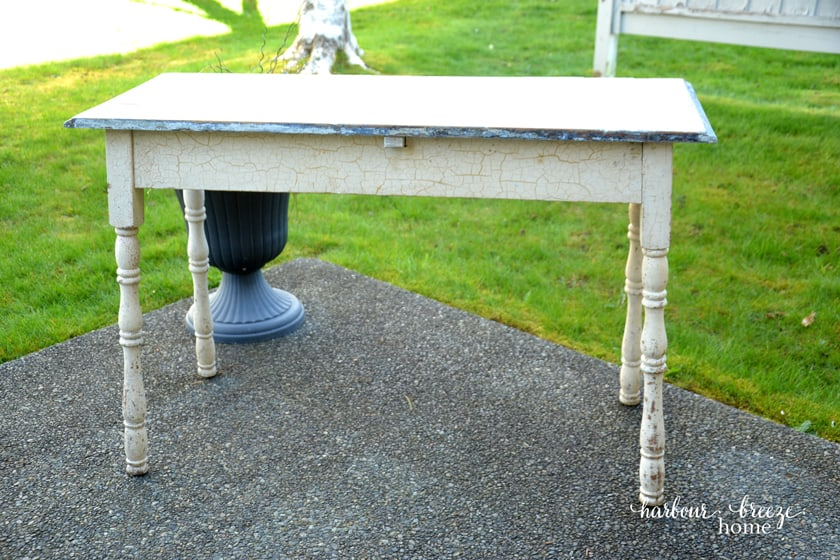 antique farmhouse table with crackle finished legs