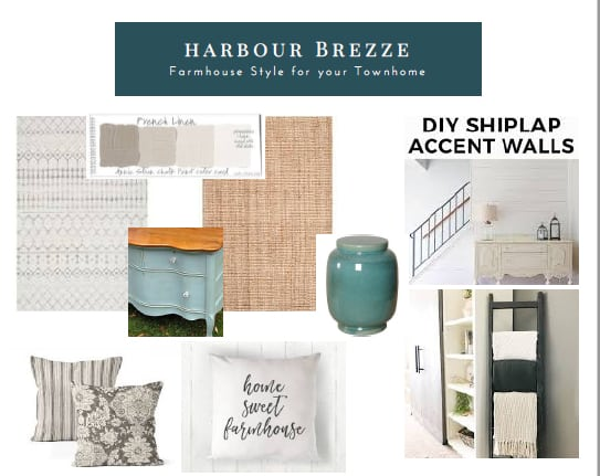 Mood boards for One Room Challenge townhouse living room makeover