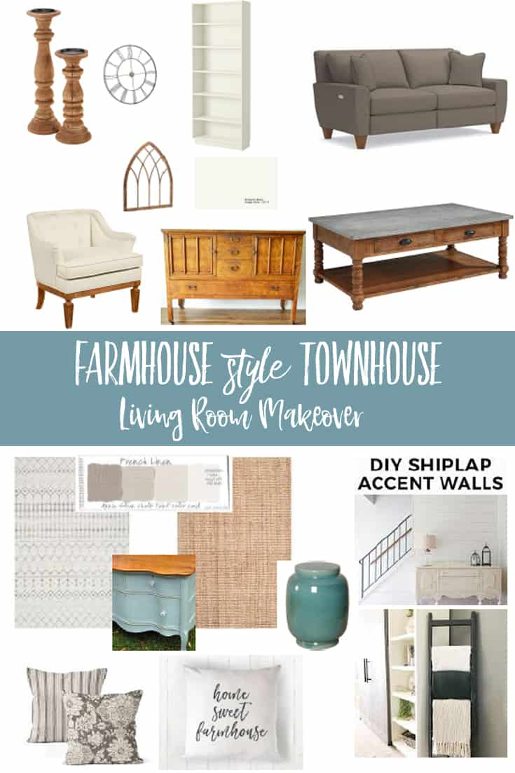 collage of living room furniture and decor accessories