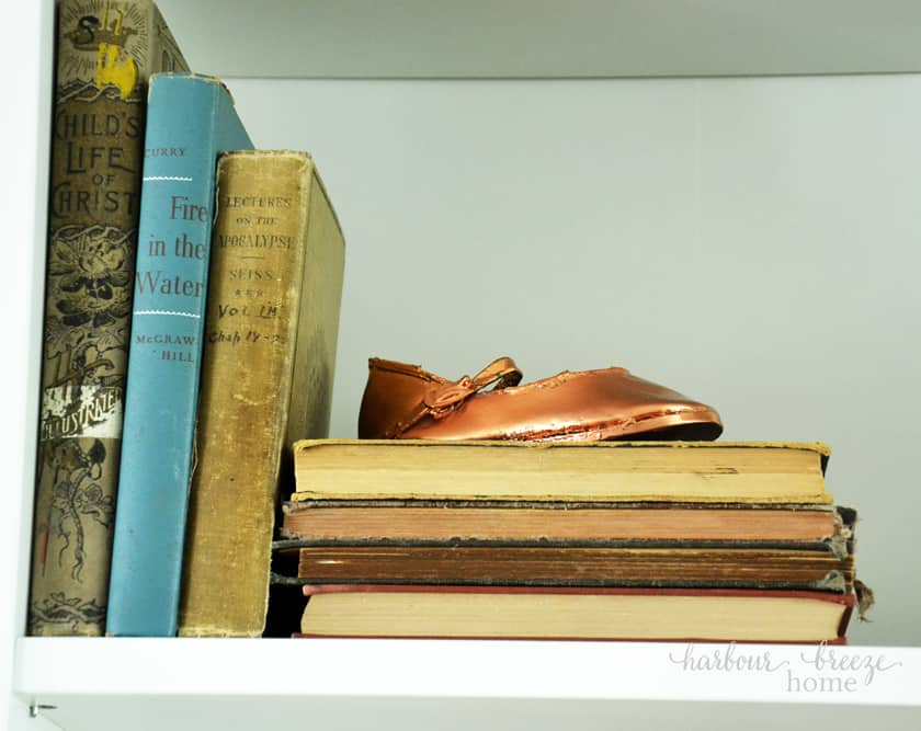 Old books used for farmhouse style bookcases