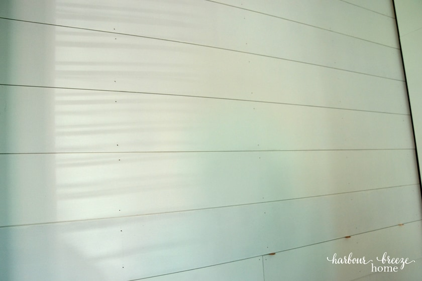 DIY Shiplap Walls using pennies as spacers