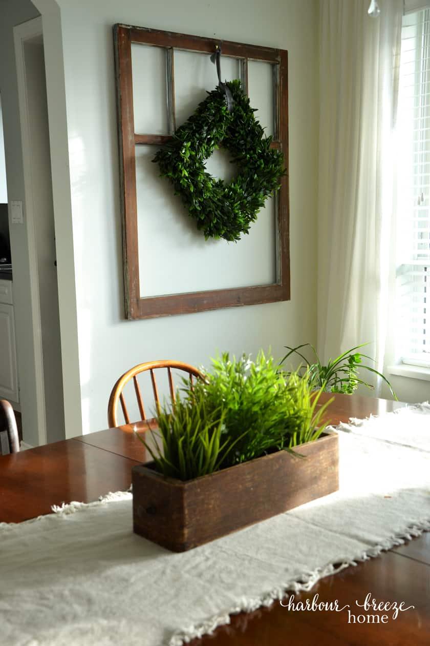 Antique Window Art with Boxwood Wreath