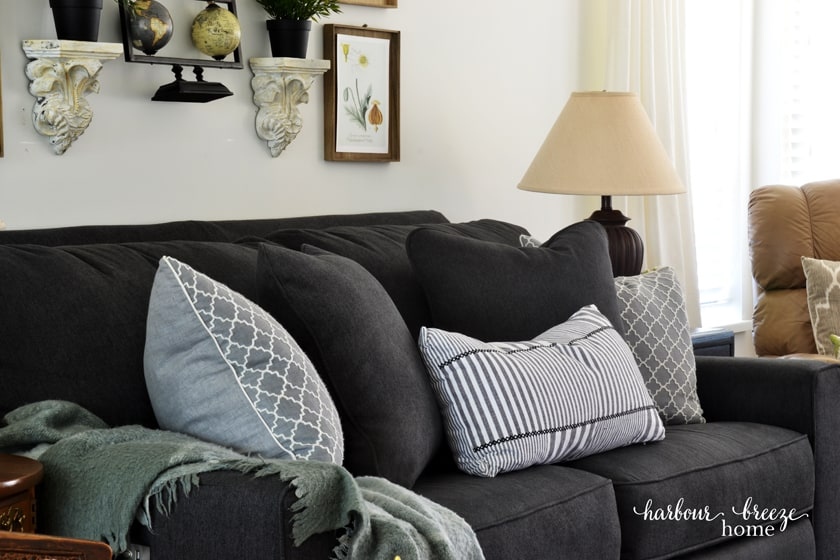 Dark Gray Edie Sofa from La-z-Boy with light gray cushions