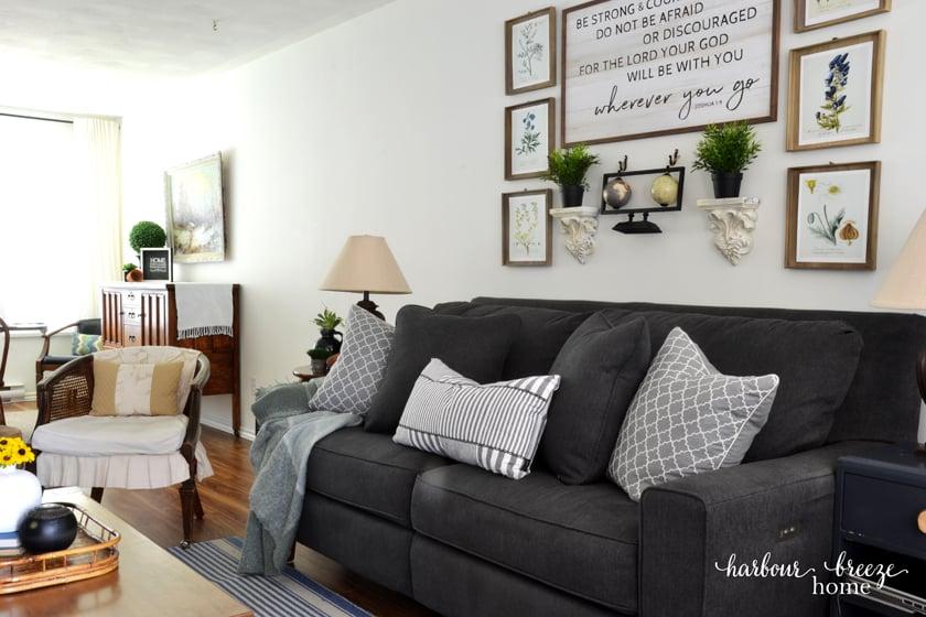 Dark Gray La-z-Boy Sofa in Townhouse Living Room