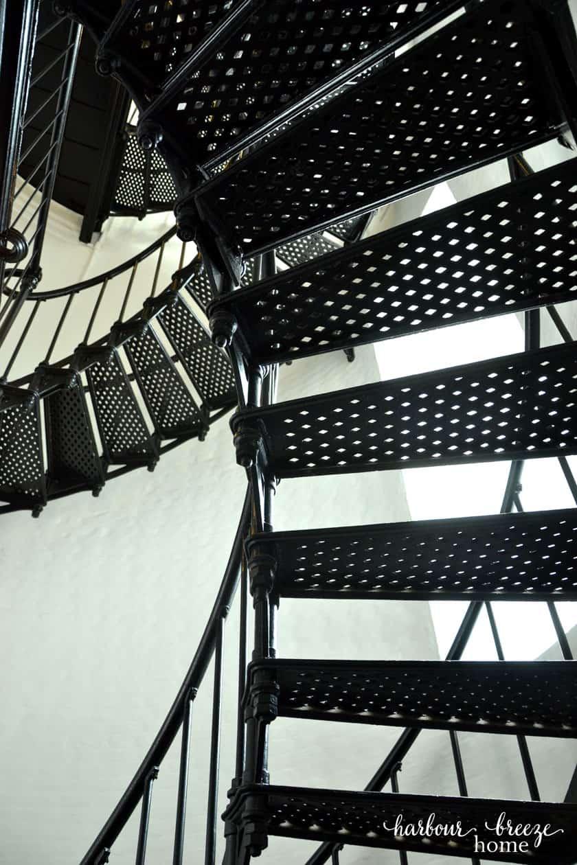 black iron spiral staircase