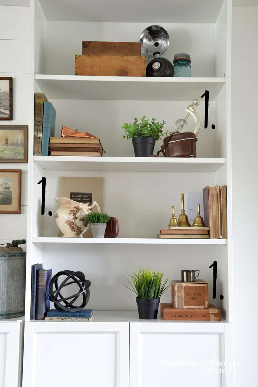 Ikea Billy Bookcase with farmhouse decor in it
