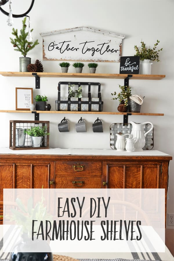 Fixer Upper Style Farmhouse Shelves | Learn how to install these budget friendly shelves into your Dining Room (or any space!) with this easy method.
