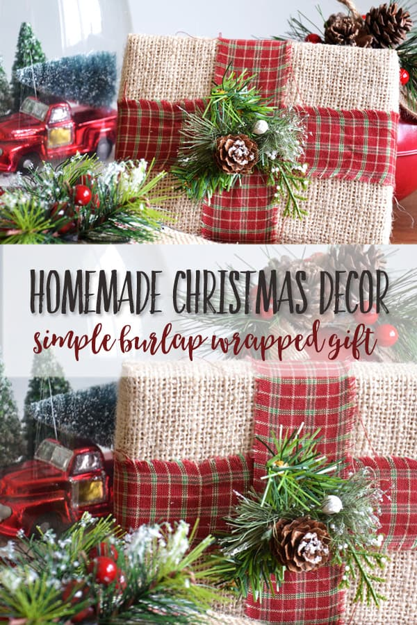 DIY Rustic Farmhouse Christmas Decor | This simple burlap wrapped gift project will add farmhouse style to your home ~ and is easy on the budget! Requiring only a few simple supplies, it is quick and easy to make. #christmasdecor #christamascrafts #christmas #farmhousechristmasdecor #farmhousedecor #hobbylobbystyle #hobbylobby #joannagaines