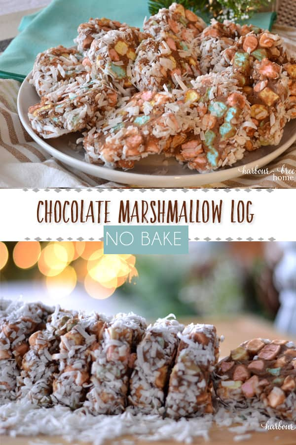 Cathedral Windows | This no bake chocolate marshmallow log is an easy no bake holiday treat. Covered in coconut, it is a festive and fun addition to a holiday party or gift. #christmasrecipe #christmasbaking #nobake