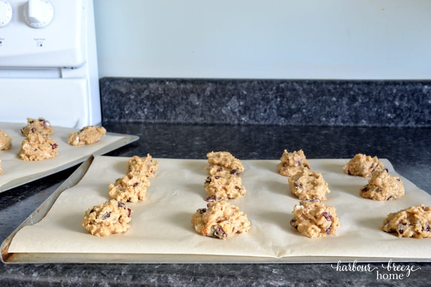cookie dough on cookie sheets