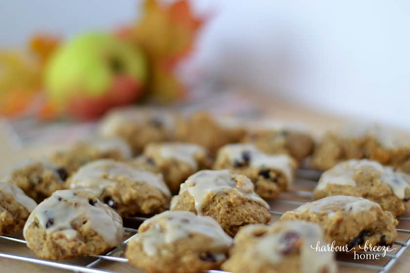 glazed apple cookies with an applie in the background