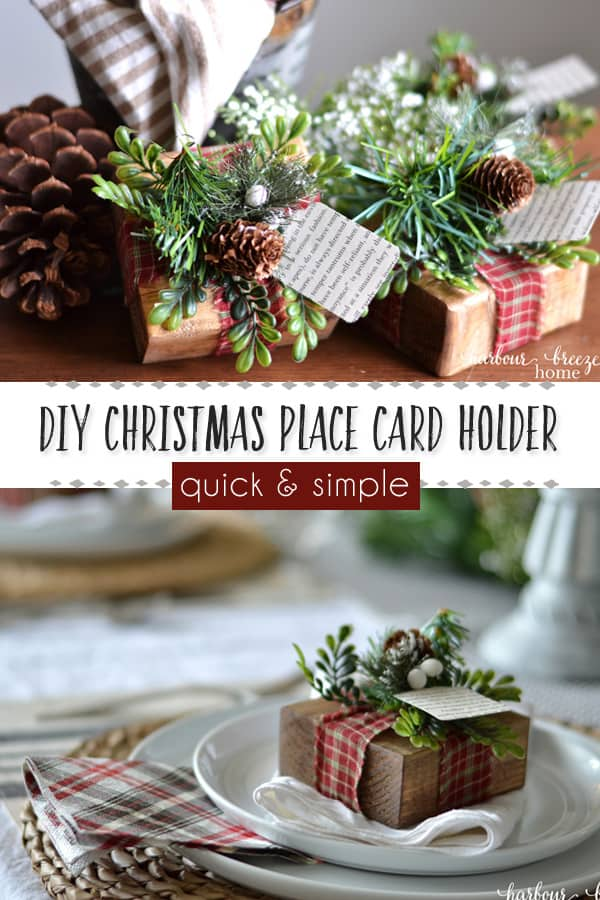 Handmade Farmhouse Christmas Craft| DIY Place card holder | This wooden gift place card holder with greenery and pinecones adds a farmhouse touch to the Christmas table. It's quick and easy and super budget friendly! #farmhousechristmas #farmhousechristmasdecor #homemadechristmasdecorations #rustichomedecor #christmastable #christmastabledecorations