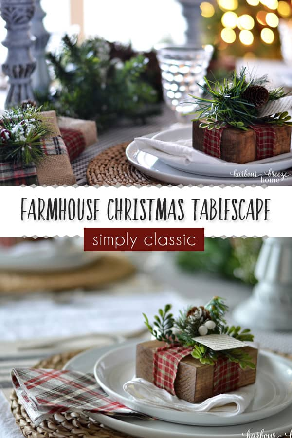 Farmhouse Christmas Tablescape | Find decorating ideas for a farmhouse style Christmas table with simple diy farmhouse decor, centerpieces, and place card holders. It's a simply classic look that Joanna Gaines' fans will love! #farmhouse #farmhousechristmas #farmhousetabledecor #diyfarmhouse #diychristmasdecorations