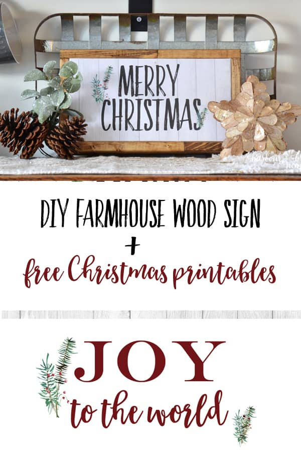 image about Merry Christmas Sign Printable titled Do it yourself Farmhouse Indication + Absolutely free Xmas Printables Harbour