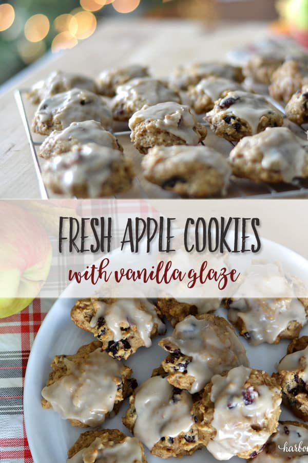 Glazed Fresh Apple Cookies | This easy fall apple recipe is healthy and delcious. Packed with flavour, they are low in calories! #fallrecipes #fallrecipeshealthy #applerecipe #holidaybaking #holidayrecipe #thanksgiving #thanksgiving recipe