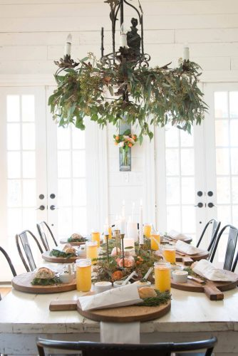 winter dinner party farmhouse table setting