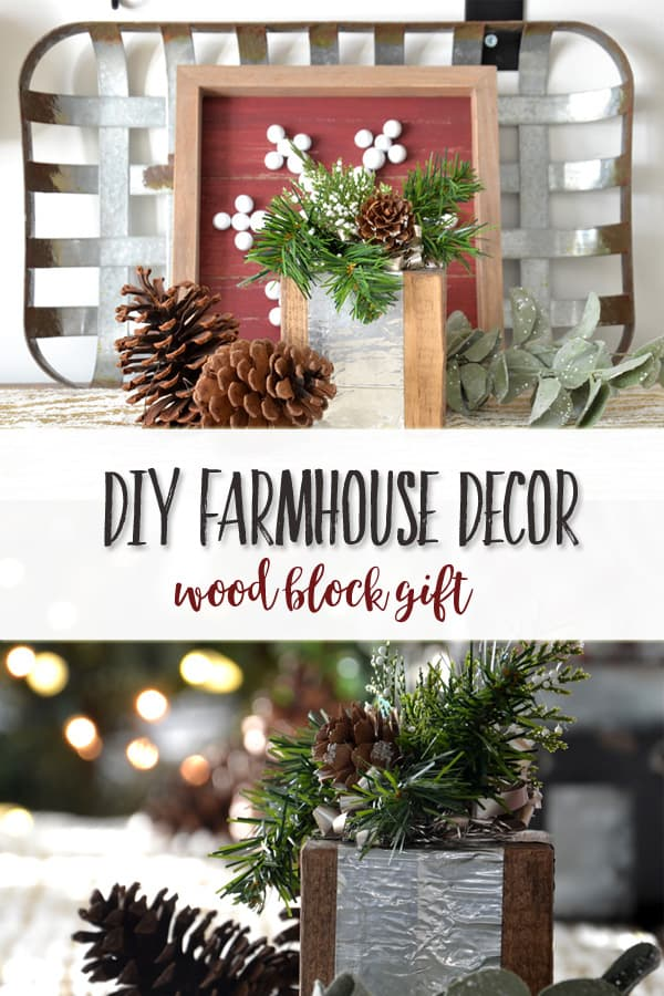 DIY Farmhouse Christmas Decor | Wood Block Gift | This simple and quick farmhouse decor project makes a run rustic element for shelf decor or coffee table styling.