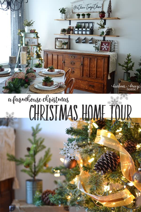 Farmhouse Christmas Home Tour (in a Townhouse!) | Longing to have that Joanna Gaines' farmhouse look...but you live in a townhouse like me? Come on in as I take you on a tour of our small townhouse with all kinds of farmhouse charm! #farmhouse #farmhousedecor #smallspaceliving #farmhousechristmas #diydecor #homemadechristmas #vintagechristmasdecor
