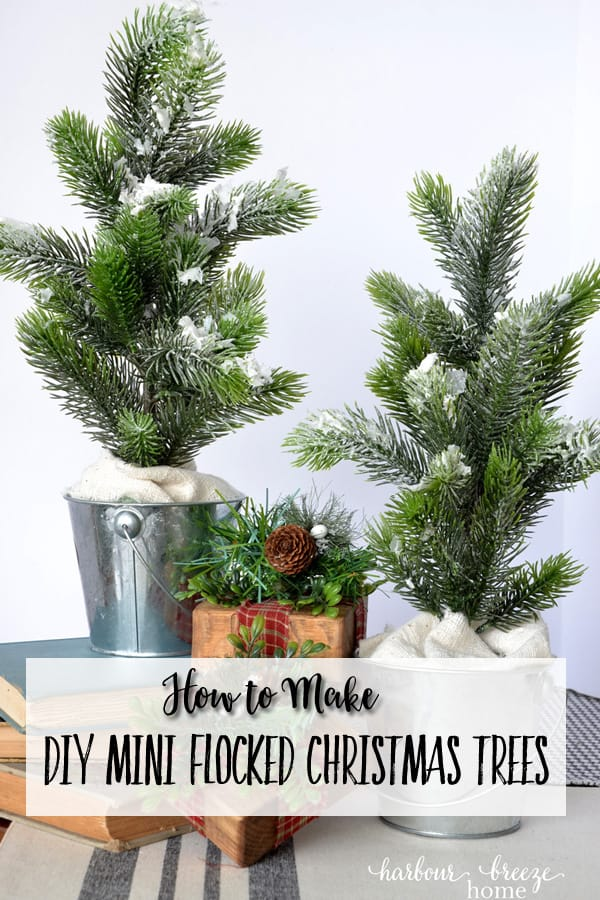 DIY Christmas Decor | Learn how to make these adorable mini flocked Christmas trees with greenery from the Dollar Store. They are fun and easy to make! #diychristmas #minichristmastree #holidaydecor #dollarstorecrafts