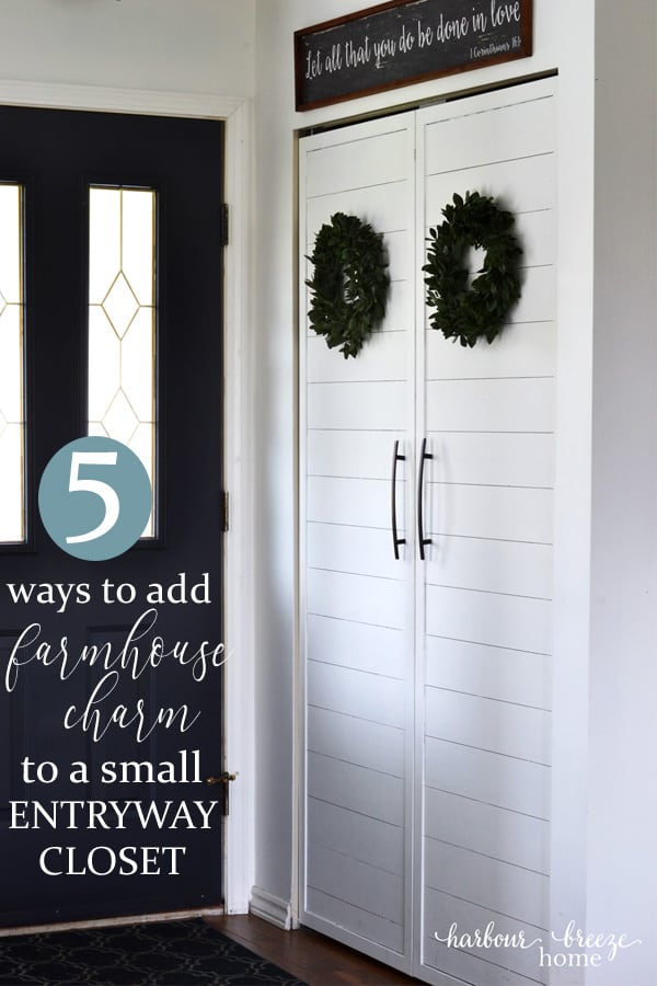 5 Ways to add farmhouse Charm to a Small Entryway Closet | Simple ways to add farmhouse style to an ordinary closet in a small space home