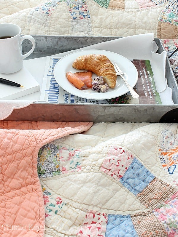homestyle gathering 4 linens with breakfast tray and coffee