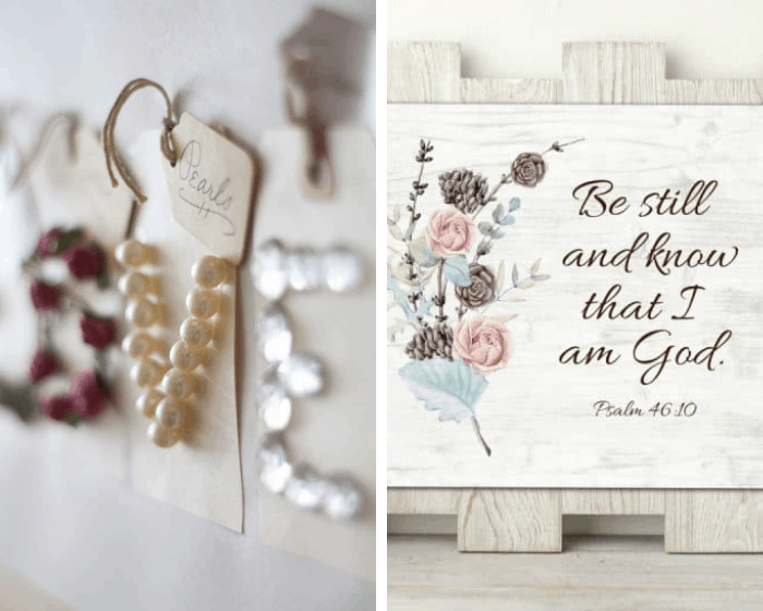 homestyle gathering 4 closeup photo of beads and rhinestone letters and photo of printable with bible verse