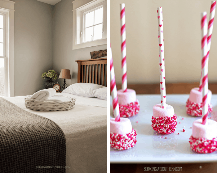 homestyle gathering 4 guestroom photo with bed and wicker tray and photo with pink marshmallow straws