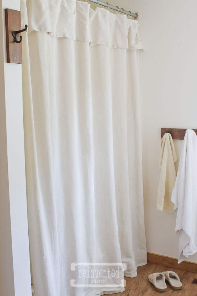 homestyle gathering 4 bathroom featuring drop cloth shower curtain