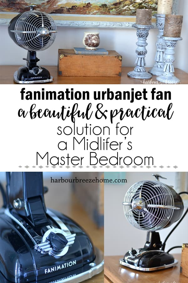 fanimation urbanjet fan on a modern farmhouse style dresser