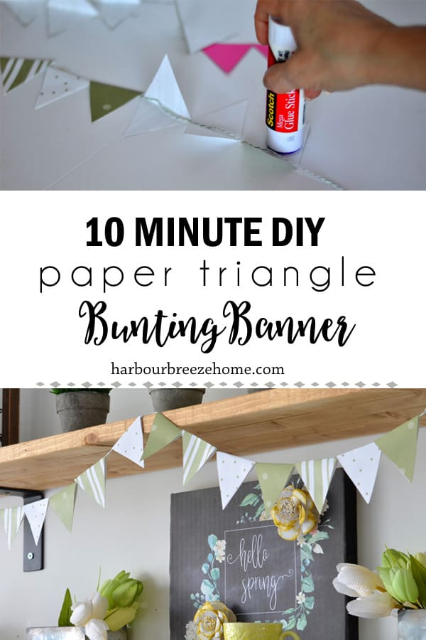 collage of a paper triangle bunting banner