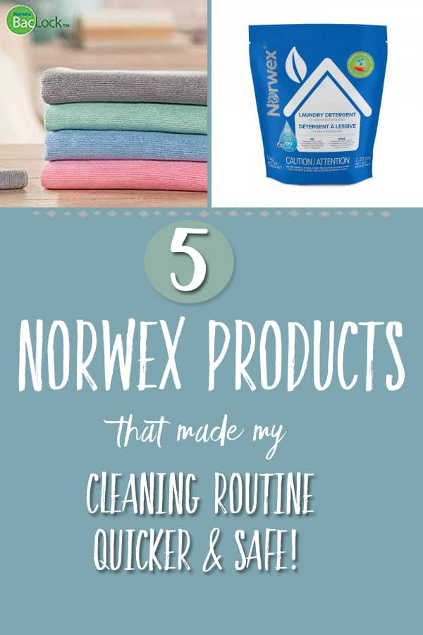 "Picture of Norwex enviro cloths and package of laundry detergent with the caption ""5 norwex products that changed my cleaning routine"""
