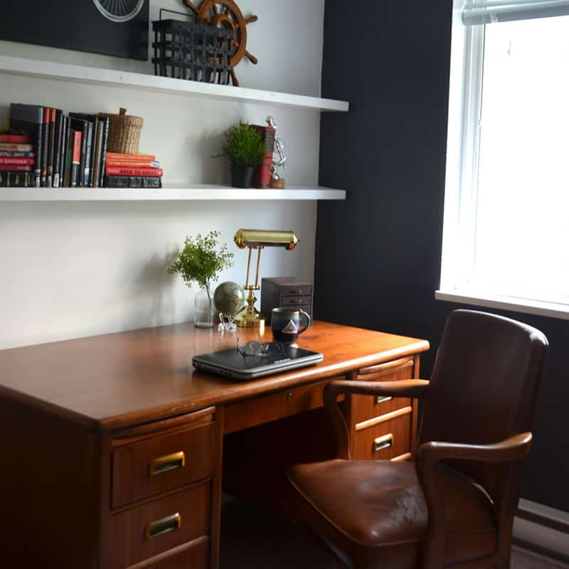 Rustic Office Before and After Reveal