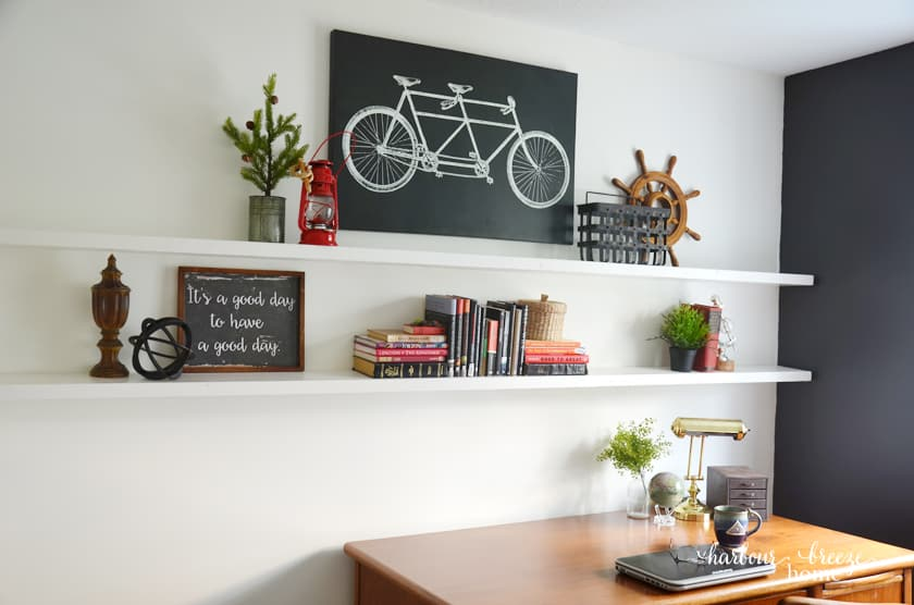diy floating shelves in a modern farmhouse office space