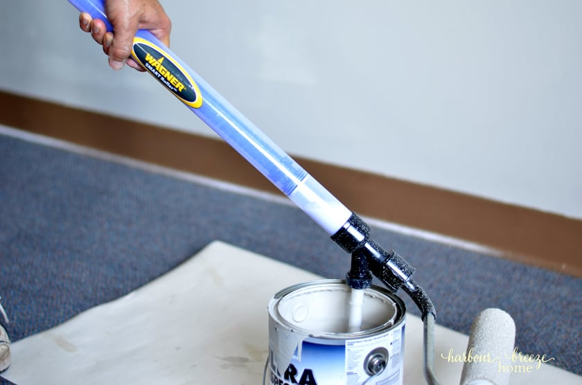 The wagner Smart Roller attached to a can of paint