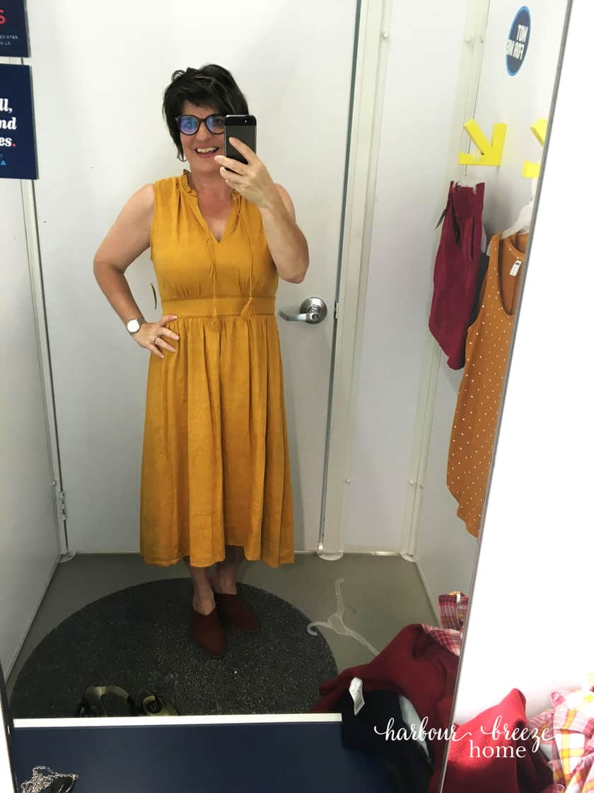 Old Navy Fall Fashion collection | Mustard colored dress