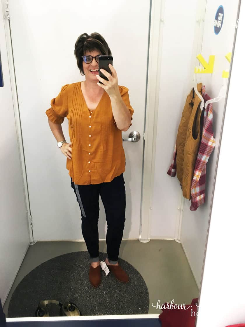 old navy dressing room try on for Fall Fashion ideas - jeans and mustard blouse