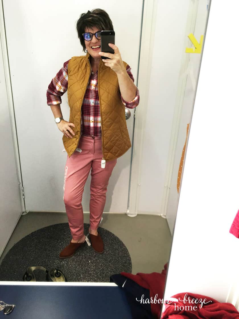 Fall Fashion ideas with Old Navy - pink pixie pants, plaid shirt, and mustard vest